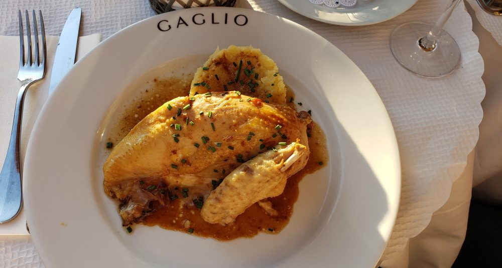 Brasserie Gaglio Poulet fermier rôti purée chicken Nice France