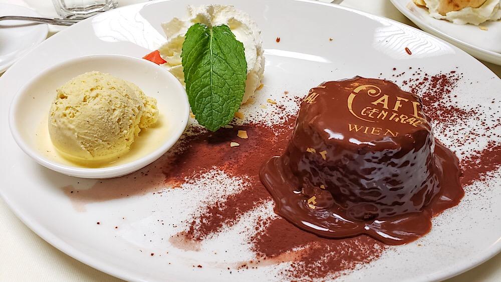 Cafe Central Warm Chocolate Cake Vienna Austria